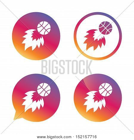 Basketball fireball sign icon. Sport symbol. Gradient buttons with flat icon. Speech bubble sign. Vector
