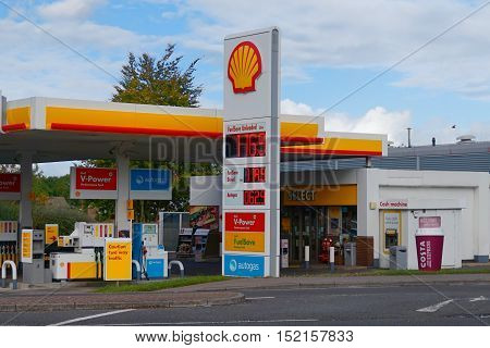 Basingstoke Hampshire UK - October 17 2016: Shell petrol filling station