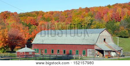 BROMONT QUEBEC CANADA 10 11 2016: Fall landscape old farm in country side of Bromont it is in the Brome-Missisquoi Regional County Municipality
