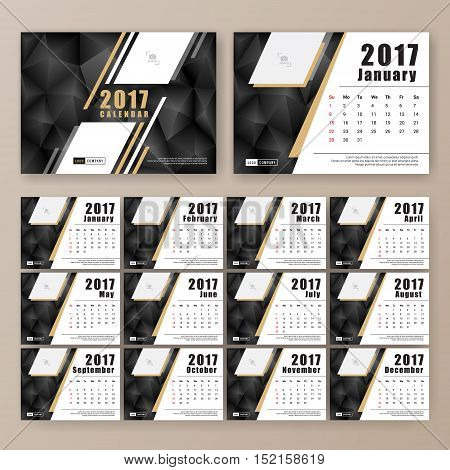 12 month desk calendar template for print design with dark polygon background. 2017 calendar design start with Sunday. 7x5 inches size with bleeds vector illustration
