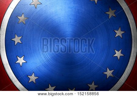 Blue Round Pin With Stars And Black Stripes