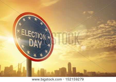 Election Day Sign With Sunset