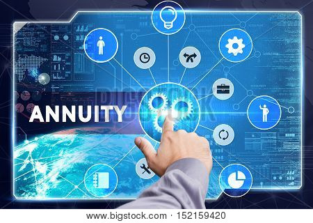 Business, Technology, Internet And Network Concept. Young Businessman Working On A Virtual Screen: A