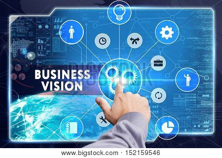 Business, Technology, Internet And Network Concept. Young Businessman Working On A Virtual Screen: B