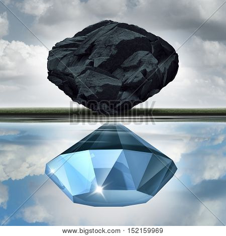 Valuation vision seeing the possibilities of value opportunity as a wealth financial visualization concept as a rock or coal making a reflection in the water of a precious diamond with 3D illustration elements.