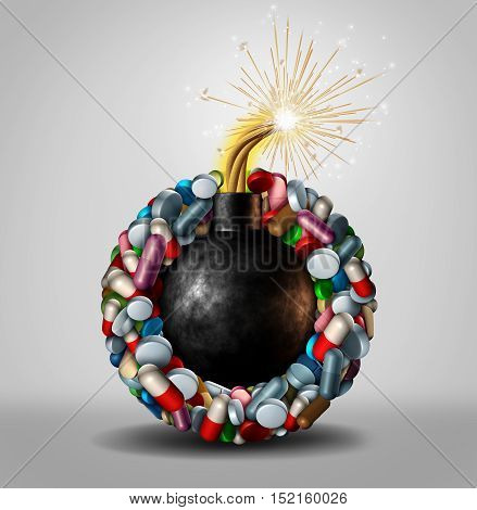 Pharmaceutical danger and prescription drug abuse concept as an urgent medical issue symbol for the addiction to medication and the health risk and problem of combining drugs and overdose of prescribed medicine as a 3D illustration.