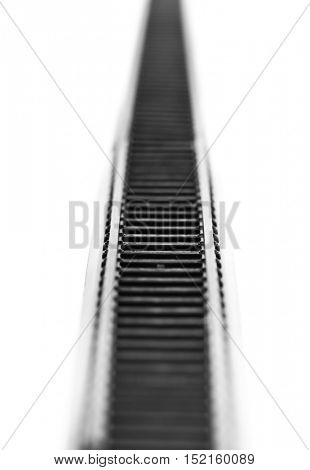 Toy railway rails isolated on white background