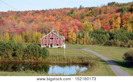 BROMONT QUEBEC CANADA 10 15 2016: Chalet in country side of Bromont it is in the Brome-Missisquoi Regional County Municipality