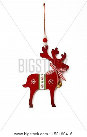 Deer With Bells, Nraditional Christmas Tree Decoration Isolated On White.