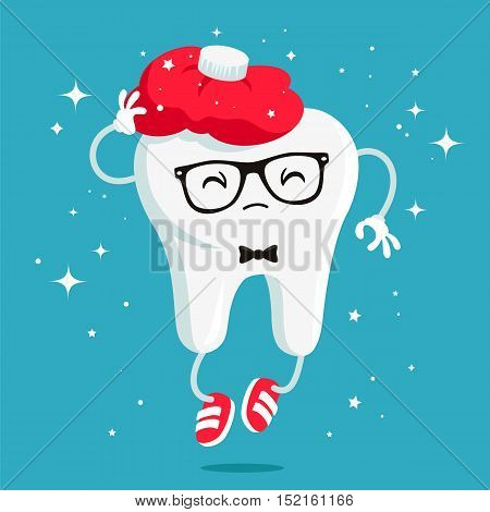 Sick tooth with a red warmer - hot water bottle on the head. Vector illustration on a blue background. Concept of children's dentistry.