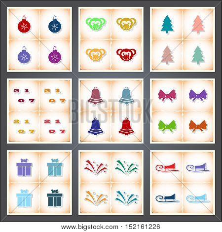 Christmas. A set of flat stickers with shadow on old paper. Vector illustration
