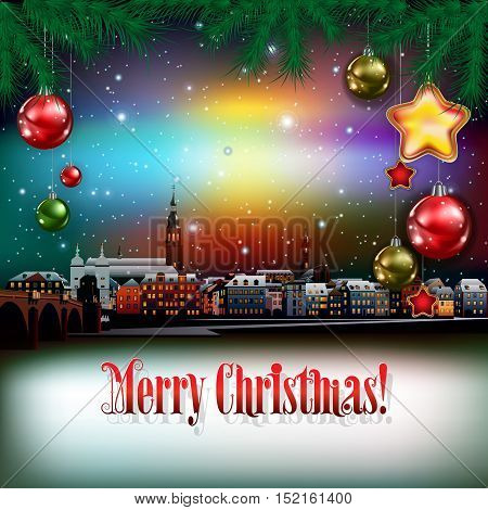 Christmas Greeting With Panorama Of City