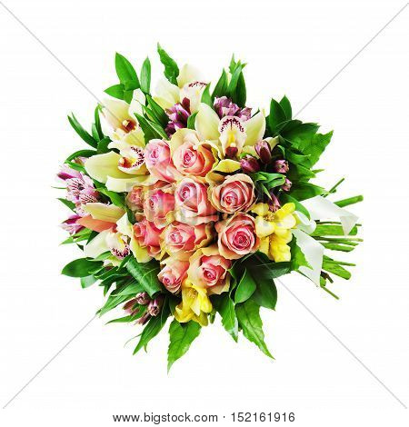 Floral bouquet of roses, lilies and orchids arrangement centerpiece isolated on white background. Closeup.