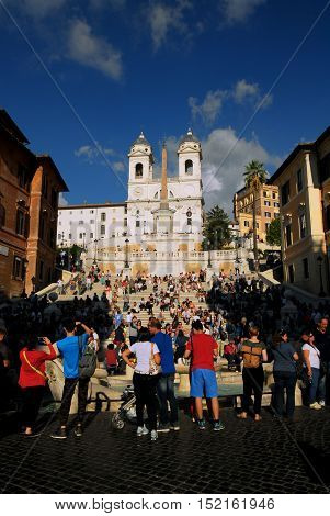 ROME, ITALY - SEPTEMBER 30: The famous Spanish Steps full of tourists just after restoration SEPTEMBER 30, 2016 in Rome, Italy