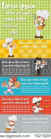 Vector brochure backgrounds with cartoon chefs cooking, waitress and waiter holding tray with fast food. Infographic template design.
