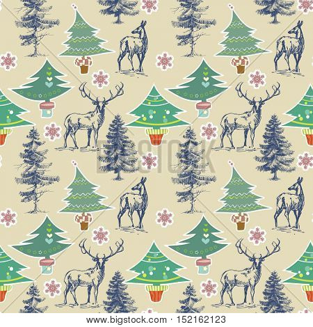 Christmas pattern. Winter holidays seamless pattern
