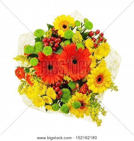 Colorful bouquet from gerberas isolated on white background. Closeup.