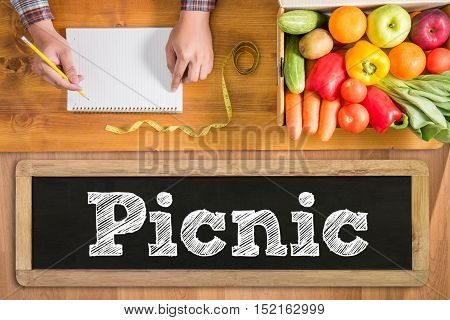 Picnic At The Park And Healthy Food And Accessories, Top View