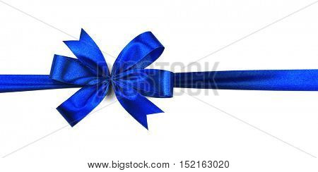 Blue ribbon with bow isolated on white