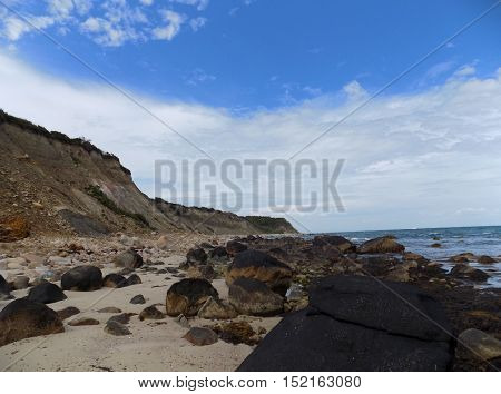 beach view with sand covered with rocks