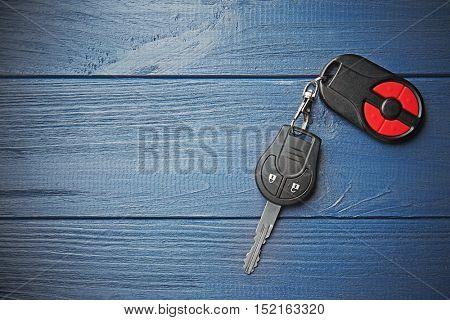 Car key on blue table