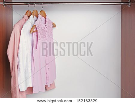 Hangers with female shirts on clothes rail in wardrobe