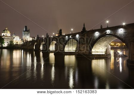 Charles Bridge historic landmark in Prague at night