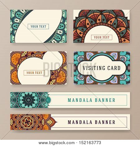 Multipurpose banner and card template with ethnic abstract drawings. Book tag design with Mandala floral decorative.