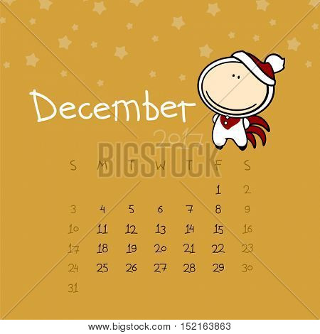 Calendar for the year 2017 - December