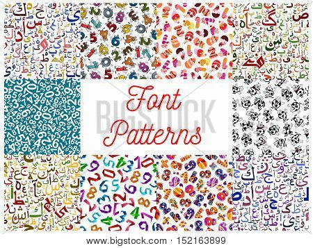 Letters and numbers seamless patterns set with arabian calligraphy characters and funny cartoon digits made up of soccer ball, birthday cake and origami paper