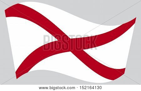 Alabamian official flag symbol. American patriotic element. USA banner. United States of America background. Flag of the US state of Alabama waving on gray background vector