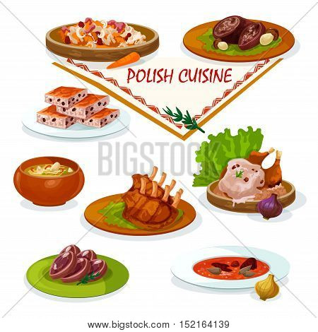 Polish cuisine savory dishes cartoon icon with beef rolls stuffed bacon and porcini, baked duck with mushroom sauce, vegetable stew bigos, pork ribs, sauerkraut soup, nut cookie and headcheese