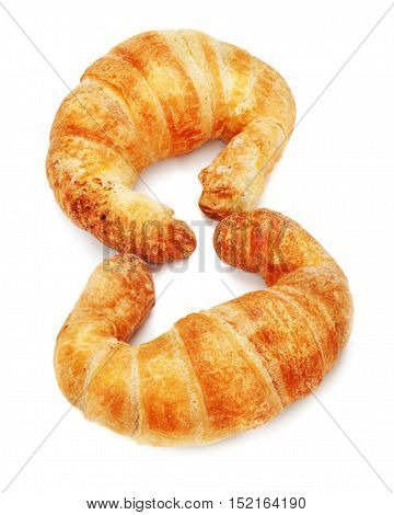 Fresh and tasty croissant isolated on white background.