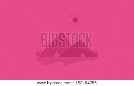 Mountain cartoon of silhouettes vector flat illustration