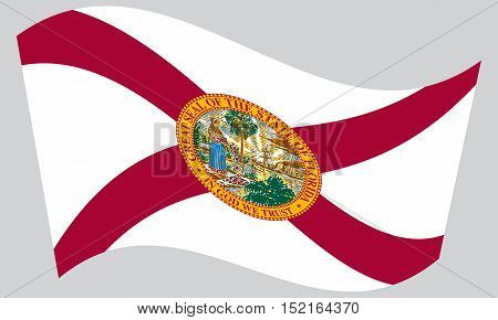 Floridian official flag symbol. American patriotic element. USA banner. United States of America background. Flag of the US state of Florida waving on gray background vector