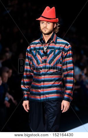MOSCOW RUSSIA - OCTOBER 13 2016: Model walk runway for Slava Zaitsev catwalk at Spring-summer 2017 Mercedes-Benz Fashion Week Russia.