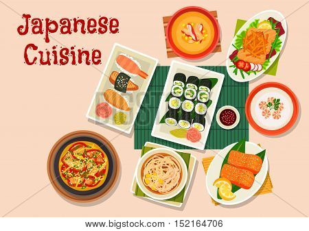 Japanese cuisine seafood dinner icon with roll and nigiri sushi, salmon salad with teriyaki sauce, shrimp cream soup, corn cream soup with crab, noodle beef soup, grilled salmon and smoked eel nabe