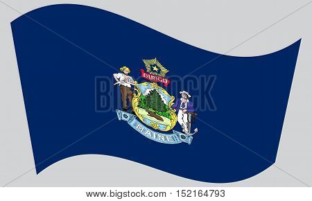 Mainer official flag symbol. American patriotic element. USA banner. United States of America background. Flag of the US state of Maine waving on gray background vector