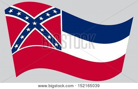 Mississippian official flag symbol. American patriotic element. USA banner. United States of America background. Flag of the US state of Mississippi waving on gray background vector
