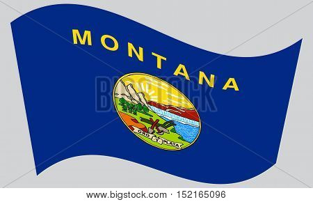 Montanan official flag symbol. American patriotic element. USA banner. United States of America background. Flag of the US state of Montana waving on gray background vector