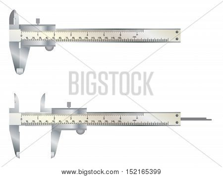Vernier caliper tool isolated on white background.