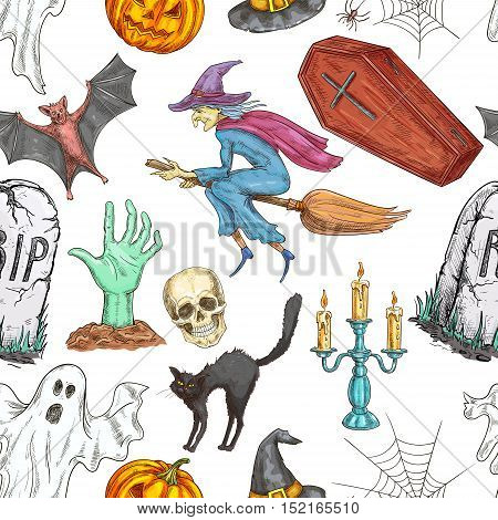 Halloween pattern. Vector seamless pattern of color sketch pumpkin lantern, coffin, witch on broom, skull, zombie hand, tomb, candle, spooky ghost, spider web. Traditional halloween cartoon elements on white background