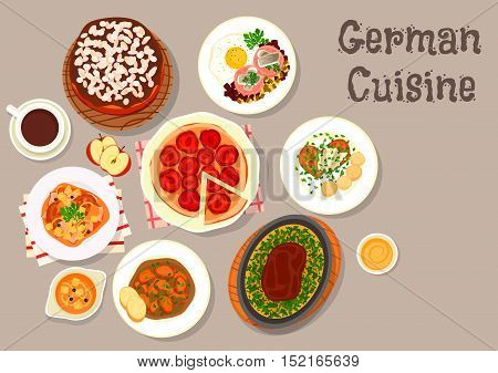 German cuisine sausage soup icon served with pork schnitzel, beef steak with omelette, stewed pork chops, corned beef hash with fried egg and herring, plum pie, layered cake with chocolate cream