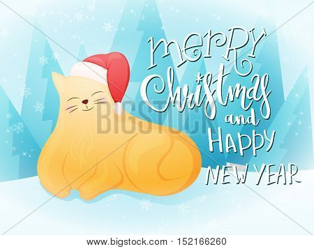 vector illustration of flat style fat ginger cat in santa hat with greeting lettering phrase - merry christmas and happy new year - with snowflakes and christmas trees. Design for greeting card or poster.