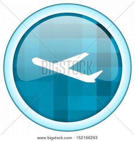 Blue circle vector  airport icon. Round internet glossy flight button. Webdesign graphic element.