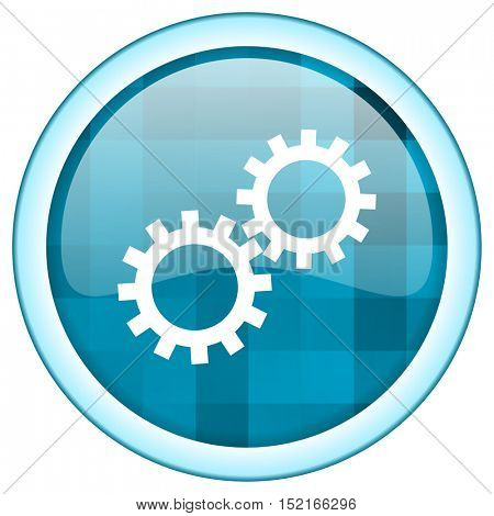Blue circle vector gears  icon. Round internet glossy button. Webdesign graphic element.
