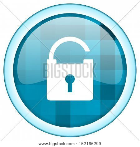 Blue circle vector padlock icon. Round internet glossy protect button. Webdesign graphic element.