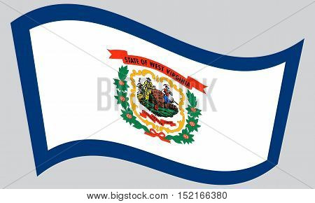 West Virginian official flag symbol. American patriotic element. USA banner. United States of America background. Flag of the US state of West Virginia waving on gray background vector