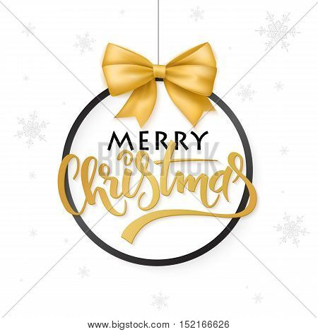 vector christmas poster with hand lettering golden label christmas in christmas ornament shape with ribbon bow.