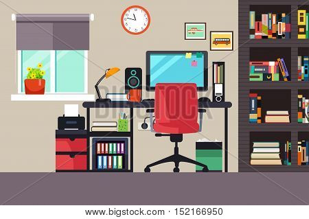 A vector illustration of Home Office in Flat Style